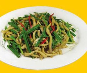 韭菜炒黄喉丝